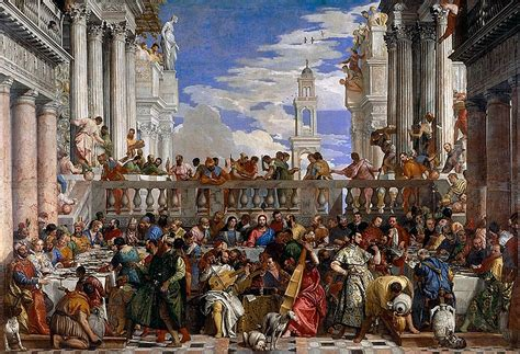 Wedding At Cana Painting In The Louvre by Louvre Painting 1562 63 Veronese The Wedding Feast