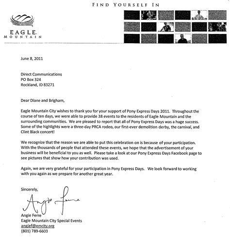 appreciation letter to sponsors high speed in eagle mountain direct