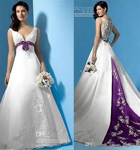 Custom Wedding Dresses Purple And White by Discount Plus Size White And Purple Wedding Dresses Empire