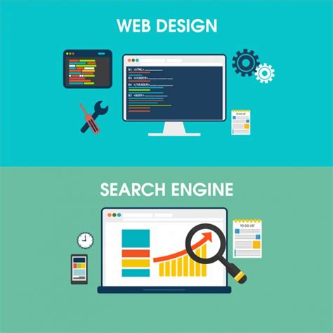 Web Design For Search Engine Banners Of Web Design And Search Engine Vector Premium