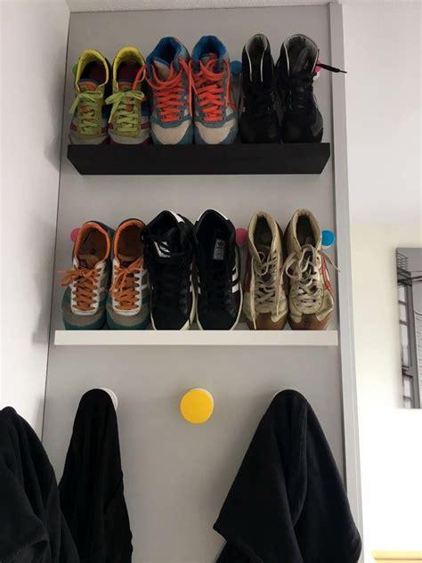 ikea sneaker shelves shoe shelf for small spaces ikea hackers ikea hackers