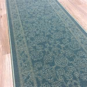 Rubber Backed Runner Rugs Custom Size Stair Hallway Runner Rug Rubber Back Traditional Teal Blue Ebay