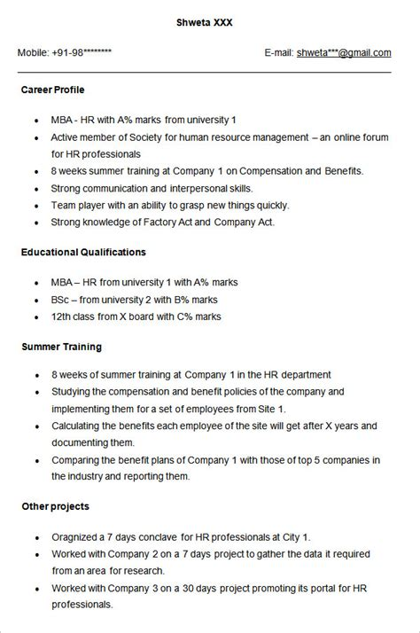 Resume Templates For Mba Hr Freshers Sle Resume For Hr Fresher