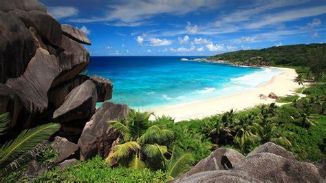seychelles beach hd wallpaper background image
