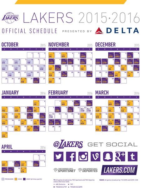 la lakers schedule printable calendar template 2016