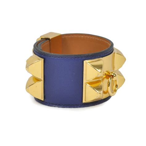 Second Hand Hermes Collier De Chien Bracelet Blue   THE FIFTH COLLECTION