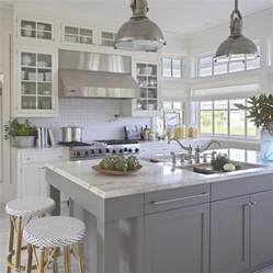 Gray And White Kitchen Ideas Grey Kitchen White Island Decorating Ideas Beautiful