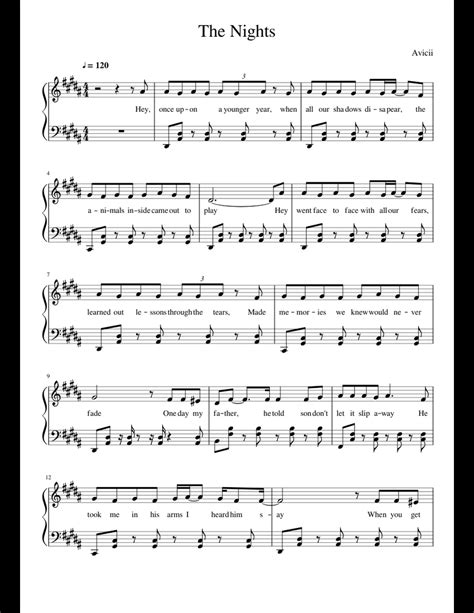 Avicii - The Nights sheet music for Piano download free in