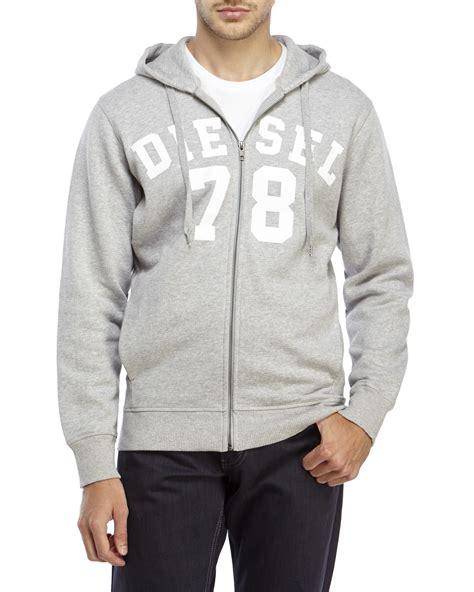 light gray zip up hoodie lyst diesel light grey gunter zip up hoodie in gray for men