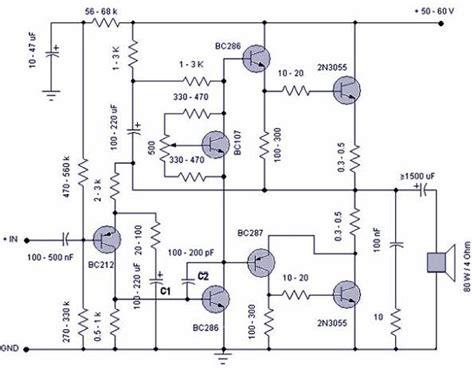 gambar transistor lifier skema rangkaian power lifier 50 watt