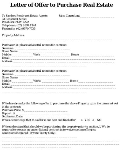 real estate offer letter template 8 real estate offer letter template 9 free word pdf