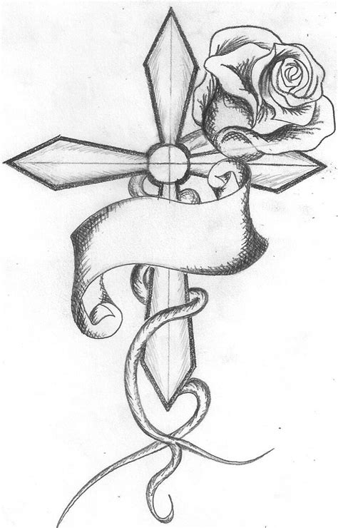 cross with rose tattoo designs grey ink and cross design