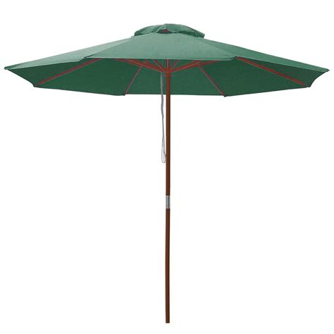 Wood Patio Umbrella 9 Ft 8 Ribs Patio Wood Umbrella Wooden Pole Outdoor Sunshade Market Garden Yard Ebay