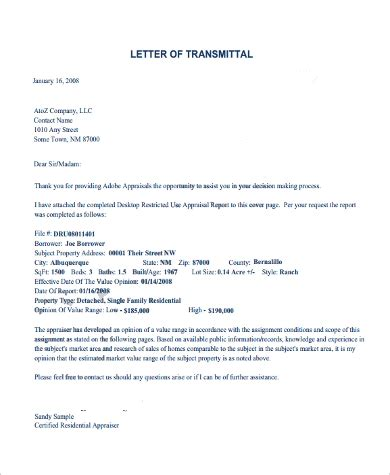 letter transmittal examples ms word
