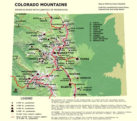 map of colorado mountain passes peaklist prominence lists and maps