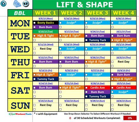 Brazil Lift Calendar Brazil Lift 171 Excel Workout Tools