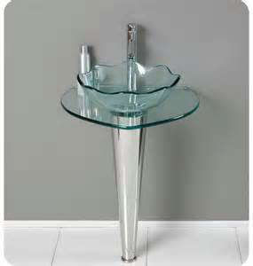 Glass pedestal sinks for small bathrooms