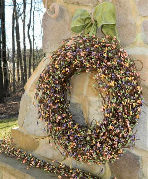 spring wreath outdoor wreath berry by everbloomingoriginal