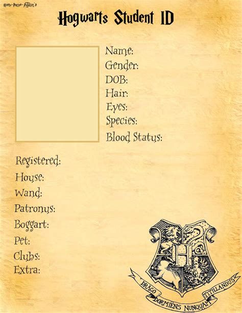 harry potter wizard card template hogwarts student id base by harry potter addict on deviantart