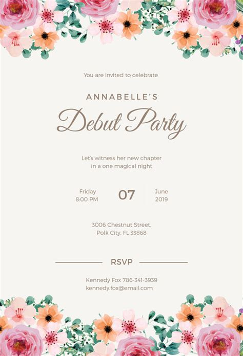 invitation card template for debut debut invitation template 28 free word pdf psd format