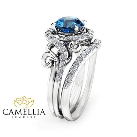 blue topaz engagement ring set unique 14k white gold topaz ring with matching band