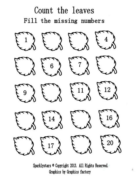 printable leaves with numbers worksheets counting worksheets 1 20 opossumsoft