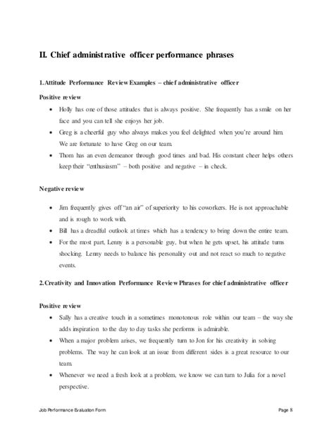 Chief Administrative Officer by Chief Administrative Officer Performance Appraisal