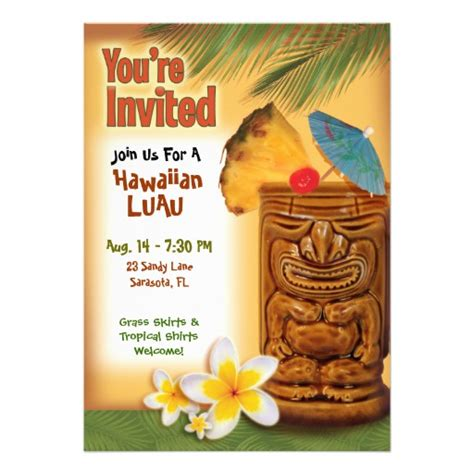 luau invitations templates free tropical tiki luau invitation template 5 quot x 7