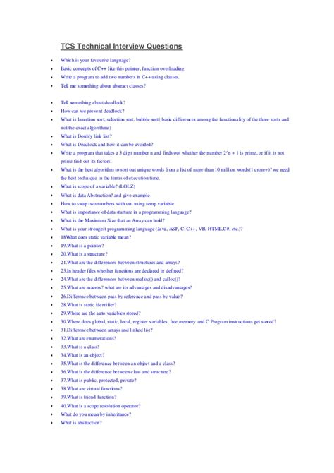 Tcs Aptitude Questions For Mba by Tcs Technical Questions And Answers Importir