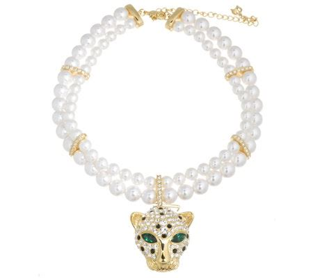 pompoos double row faux pearl necklace  enhancer