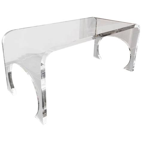 Lucite Waterfall Coffee Table Thick Waterfall Lucite Coffee Table In The Manner Of Charles Hollis Jones For Sale At 1stdibs