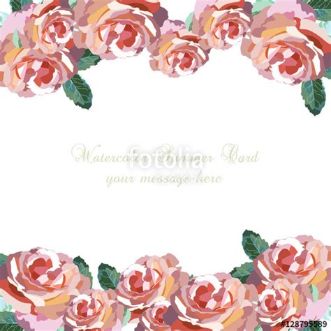 Vector Backgrounds With Roses For Invitations quot watercolor pink flowers card vector floral border