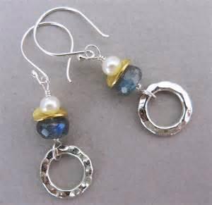 Handmade Jewlry - handmade labradorite and pearl earrings handmade jewelry