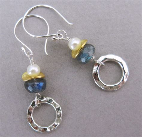 Handmade Jewllery - handmade labradorite and pearl earrings handmade jewelry