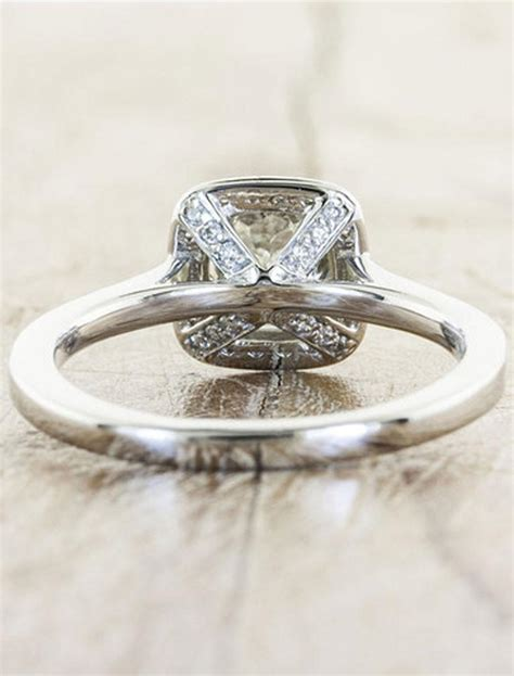 unique engagement rings halo cushion cut ken
