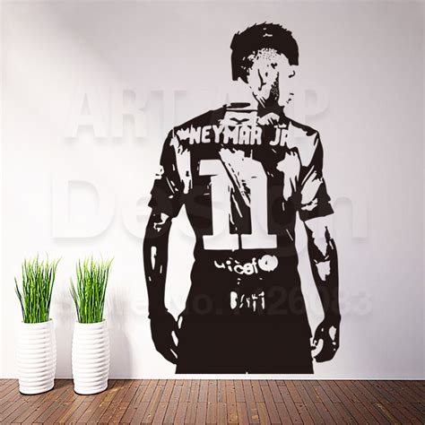 new design home decoration art new design home decor football player vinyl neymar