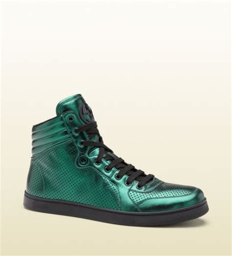 green gucci sneakers gucci metallic green leather hightop sneaker in green for