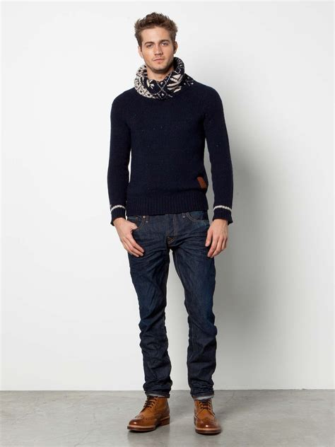 Navy Fashion navy sweater with patterned turtleneck and wingtip boots by scotch and soda s