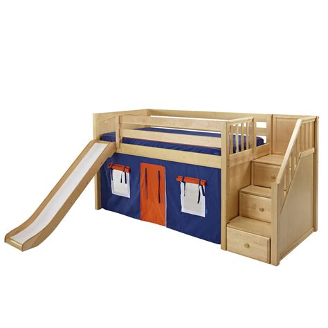playhouse loft bed with stairs maxtrix delicious playhouse low loft in natural w stairs