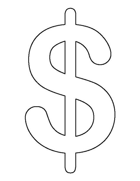symbol templates dollar sign pattern use the printable outline for crafts