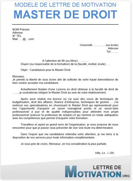 Exemple Lettre De Motivation Ecole De Commerce Master Modele Lettre De Motivation Pour Master 1 Document
