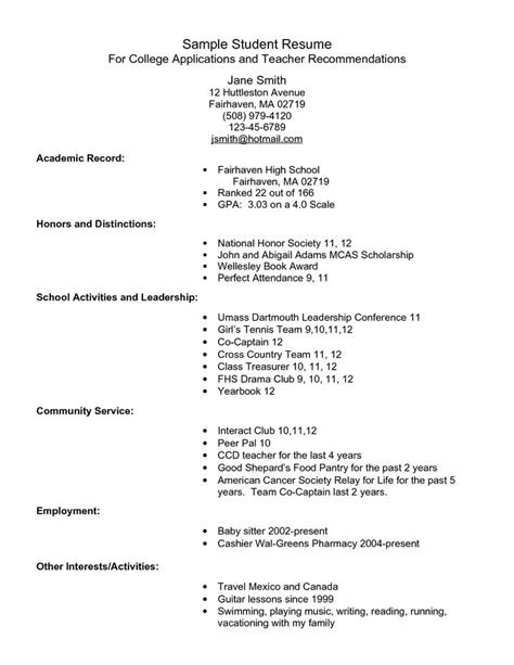 College Admission Resume Template by College Admissions Resume Exle Free Resume Sle