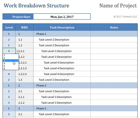 work breakdown structure excel template work breakdown structure template