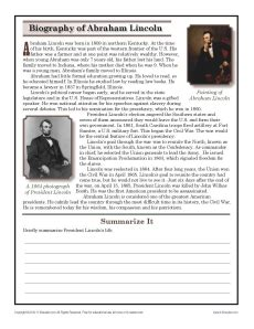 7th Grade Reading Worksheets by Abraham Lincoln 7th Grade Reading Comprehension Worksheet