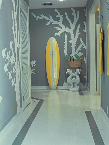 coral water sea modern mural in gray and white