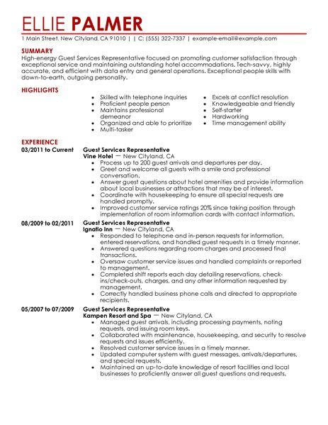 Guest Service Representative Resume Examples Hotel