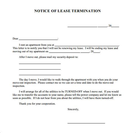 Notice Lease Termination Template Termination Notice Template 7 Free Documents In Pdf Word