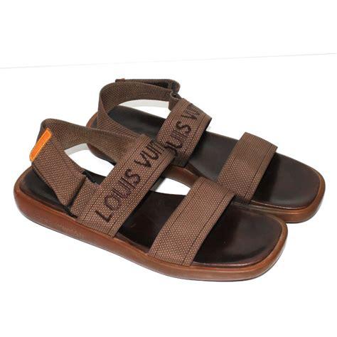 louis vuitton mens sandals louis vuitton sandals sandals leather cloth brown ref