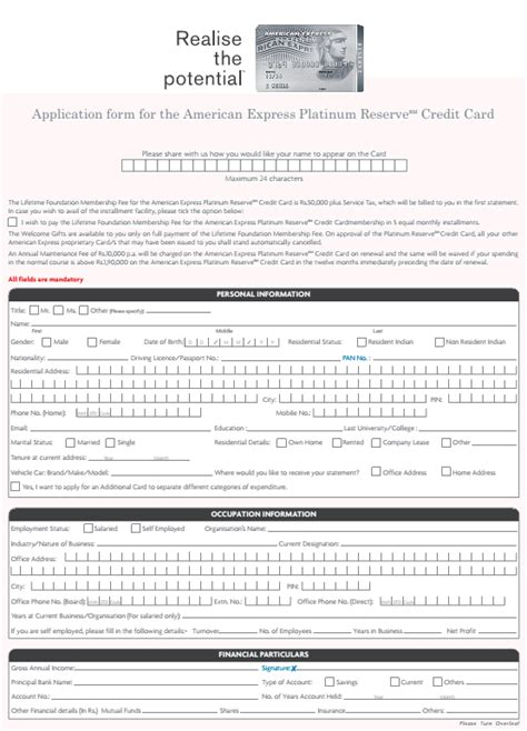 Express Credit Application Form American Express Platinum Credit Card Application Pdf Form