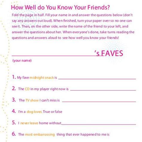 printable sleep quiz girls friendship quiz slumber party games activities